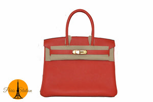 New Hermes Rouge Pivoine Togo Leather Birkin 30 Bag