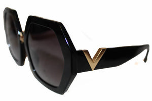 New Valentino VA4053 Black Irregular Shape Sunglasses