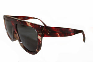 New Celine CL40001I Red Havana Polarized Aviator Sunglasses