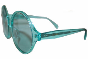New Celine CL40051F Oversized Round Transparent Aqua Blue Sunglasses