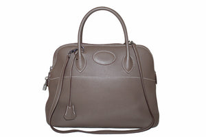 Hermes Etoupe Bolide 35 Clemence Leather Handbag/Shoulder Bag