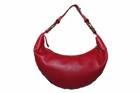 Gucci Red Pebbled Leather Bamboo Ring Hobo Bag