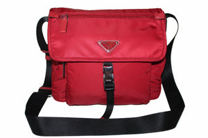 New Prada Red/Black Nylon Tessuto Small Messenger Bag 1BD