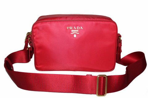 New Prada Red Nylon Tessuto Messenger Camera Bag 1BH089