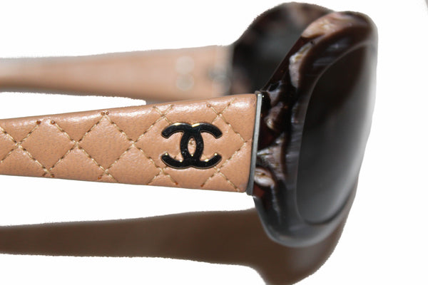 Chanel Beige Quilted Leather Sunglasses 5116-Q
