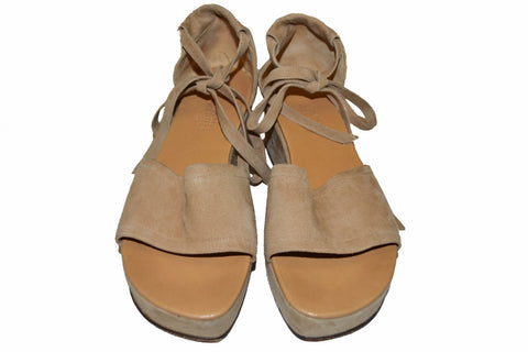 Hermes Beige Suede Leather Platform Wedge Sandals Size 36