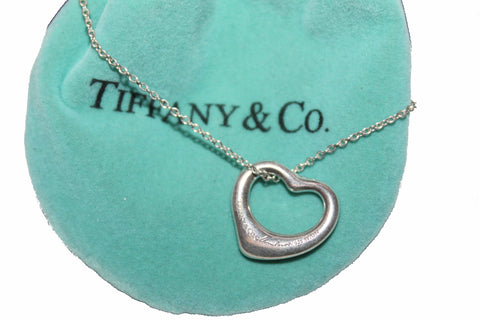 Tiffany & Co. Sterling Silver Open Heart 16mm Necklace