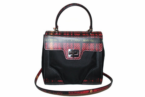 New Prada Red Plaid Tartan Saffiano Leather and Nylon Top Handle Messenger Bag with Long Strap