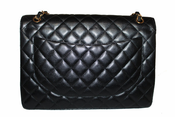Chanel Black Quilted Caviar Leather Maxi Double Flap Bag