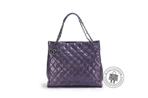 3e79d621899 Chanel A67389 CC Shopping Bag IN Iridescent Metallic Purple Calfskin  Shoulder Bags Bkhw