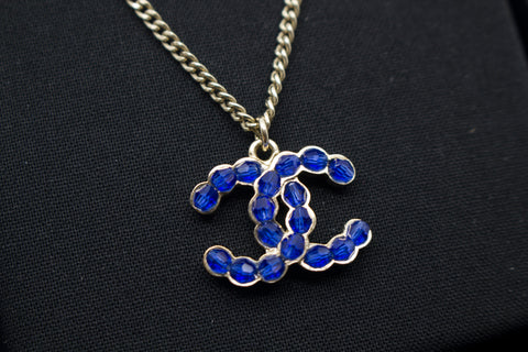 Chanel AB0837Y47509 CC Blue Beaded Inlaid Logo With Multi Beads IN Sil Blue / Z8937 Necklace Shw