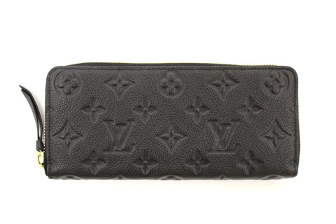 Louis Vuitton Black Empreinte Leather Clemence Zippy Wallet