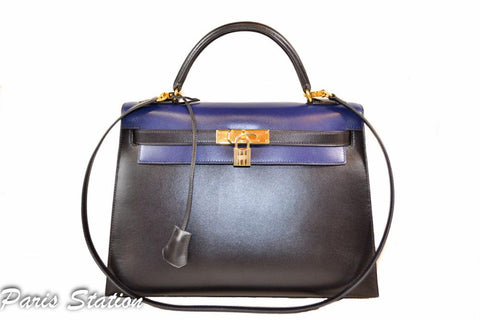 Authentic Hermes Blue/Black Kelly Sellier 32 Bi-Color Handbag
