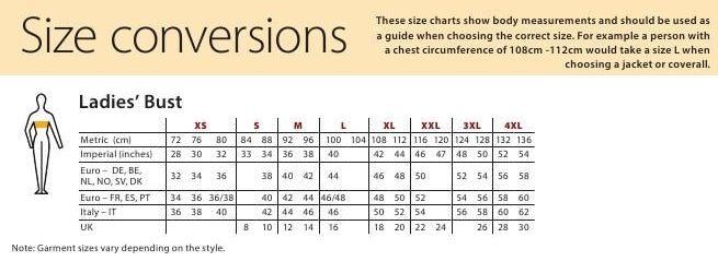 Ladies Bust size chart
