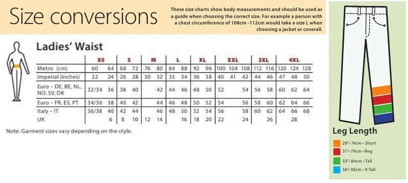 Ladies waist and length size chart