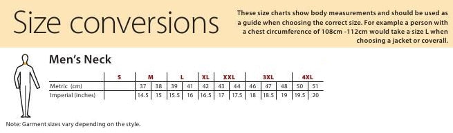 Mens neck size chart