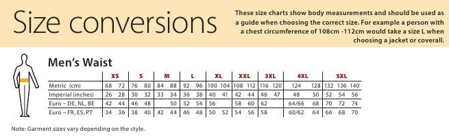 Size Charts Gs Workwear