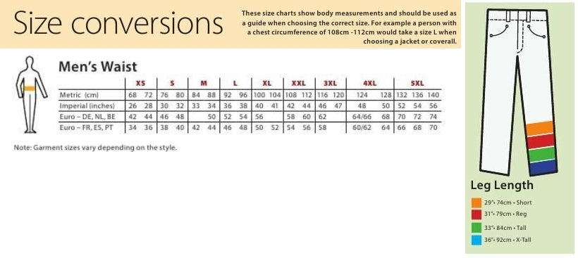 Mens waist and length size chart