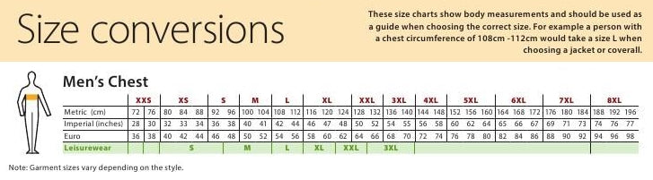 Mens chest size chart