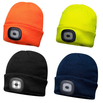 Portwest Rechargeable LED Beanie Hat Turnup B029