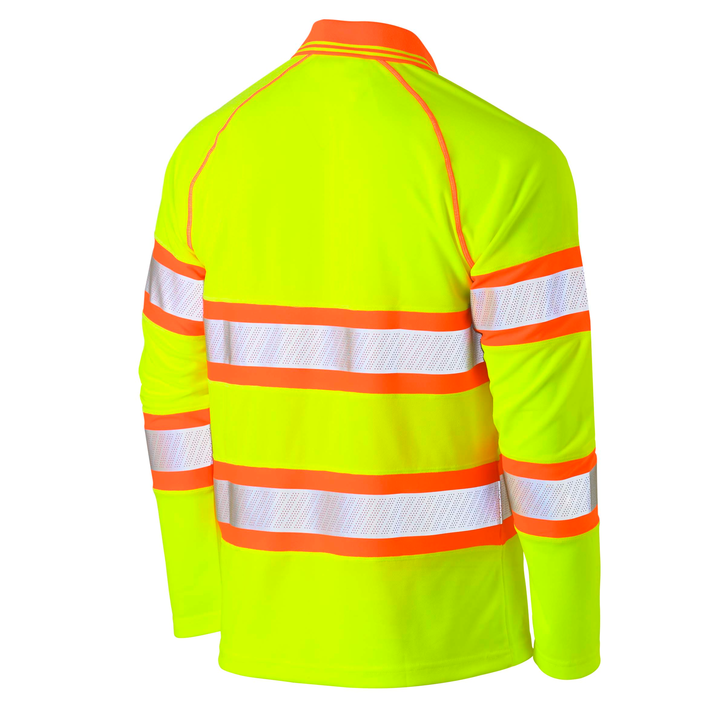 Bisley Taped Double Hi Vis Mesh Long Sleeve Polo