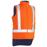 Bisley Taped Hi Vis Puffer Vest With X Back Taping