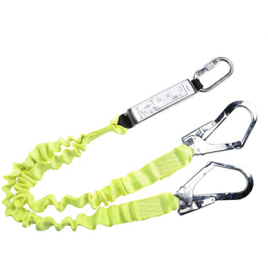 Portwest Double Lanyard Elasticated With Shock Absorber Yellow One Size  FP52