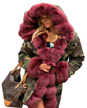 Roiii Thickened Warm Wine Red camouflage Faux Fur Fashion Warm Parka luxury Women Hooded Long Winter Jacket Coat Overcoat Top