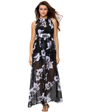 Women Summer Dress Sleeveless Adjustable Pls size  Floral Flared Swing Dress
