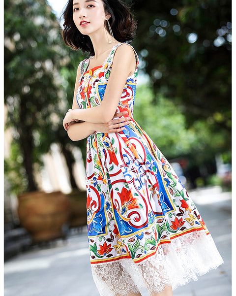 Roiii Women Ladies Girl Summer Casual Beach Dress Floral Print Lace Button Party Evening Ball Wedding Dresses Sweet A-Line Dress