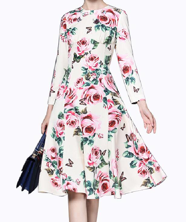 Roiii Womens Vintage Floral Long Sleeve Party Evening Wedding Retro Dresses Summer Beach Sundress Pleated Swing Dress Size S-4XL