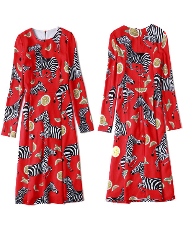 ROIII Big Red Zebra Animal Printing Long Sleeve Dress