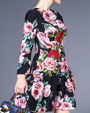 ROIII Formal Swing Hem Rose Printing Black Dress
