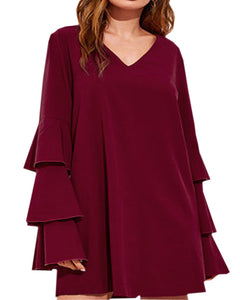 Women Long Tiered Sleeve Casual Chiffon Top