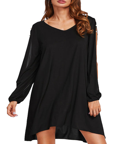 Women Split Sleeve Pearls Frill Asymmetrical Hem Dress