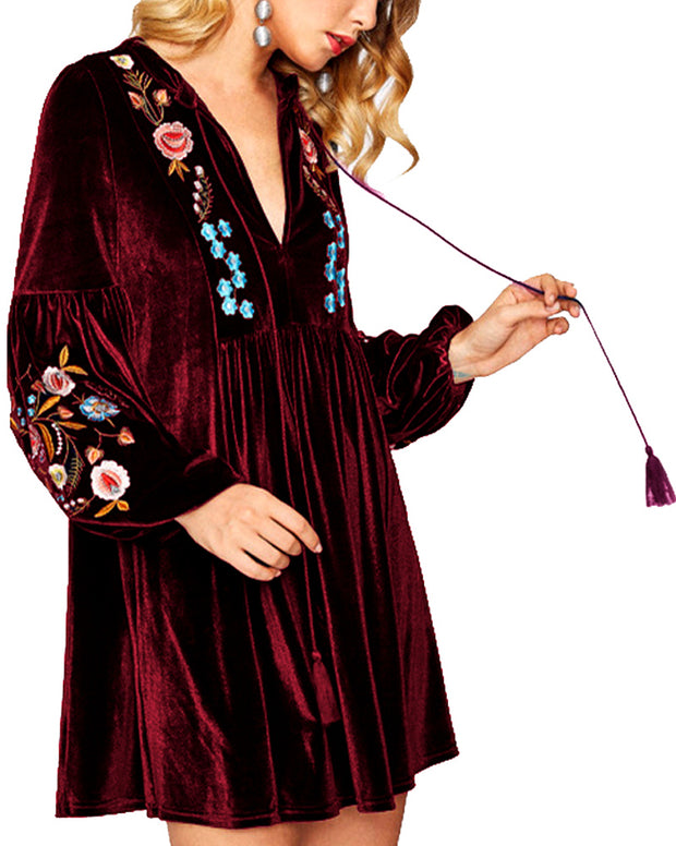 ROIII Fringe Bishop Sleeve Embroidery Drawstring Velvet Dress