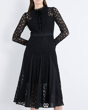 ROIII Bow Tie Round Neck Chiffon & Lace Dress