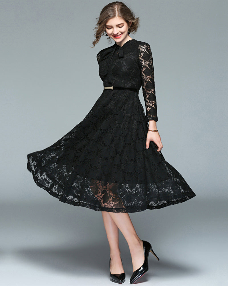 ROIII Stand Collar Bow Tie Neck Long Sleeve Lace Dress – Roiii