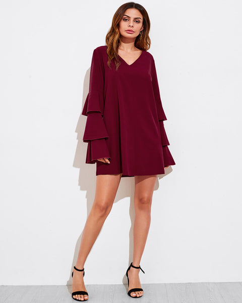 Women Long Tiered Sleeve Casual Chiffon Top V-neck Red Dress