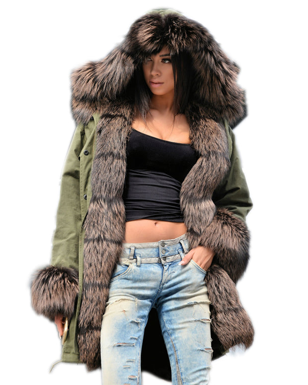Women Plu Size  Warm Overwear Faux Fur Black Winter Jacket