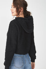 Roiii  Thickened  warm Teddy velvet sweater cardigan coat black color