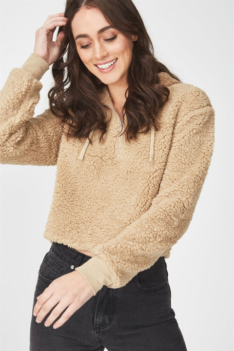 Roiii Thickened warm Teddy velvet sweater cardigan coat brown color