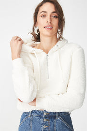 Roiii Thickened warm Teddy velvet sweater cardigan coat white color