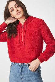 Roiii Thickened warm Teddy velvet sweater cardigan coat red color