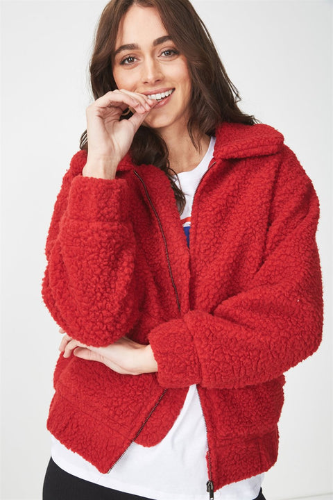 ROIII Winter fashion short Teddy velvet sweater padded warm cardigan coat red  color