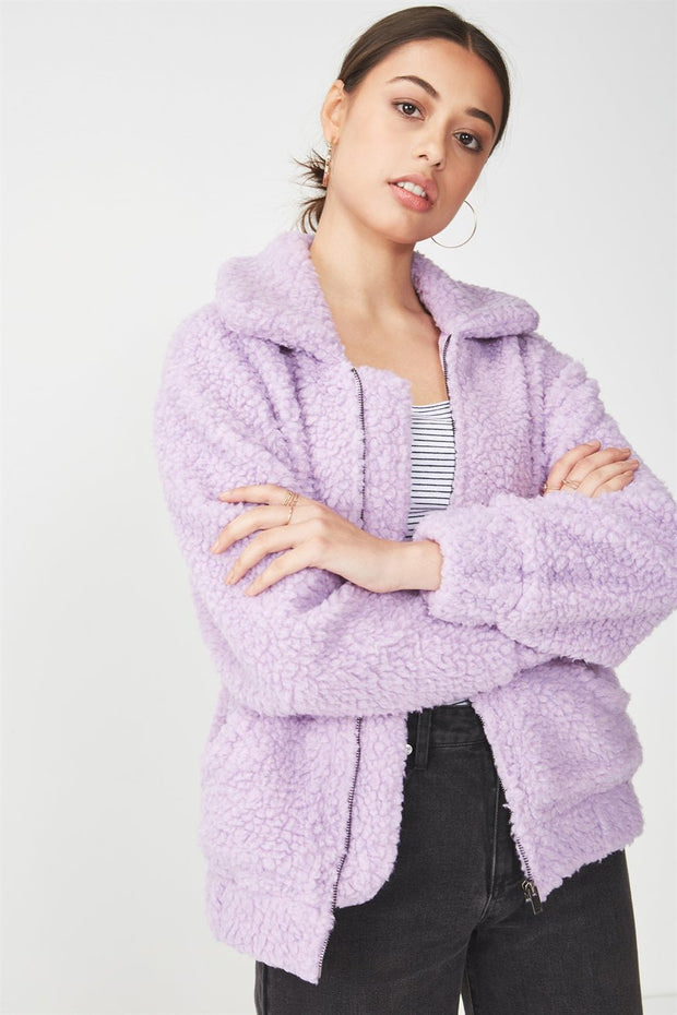 ROIII Winter short Teddy velvet sweater padded warm cardigan coat purple color