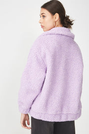 ROIII Winter fashion short Teddy velvet sweater padded warm cardigan coat purple color