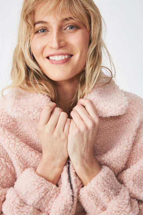 ROIII Winter short Teddy velvet sweater padded warm cardigan coat pink color