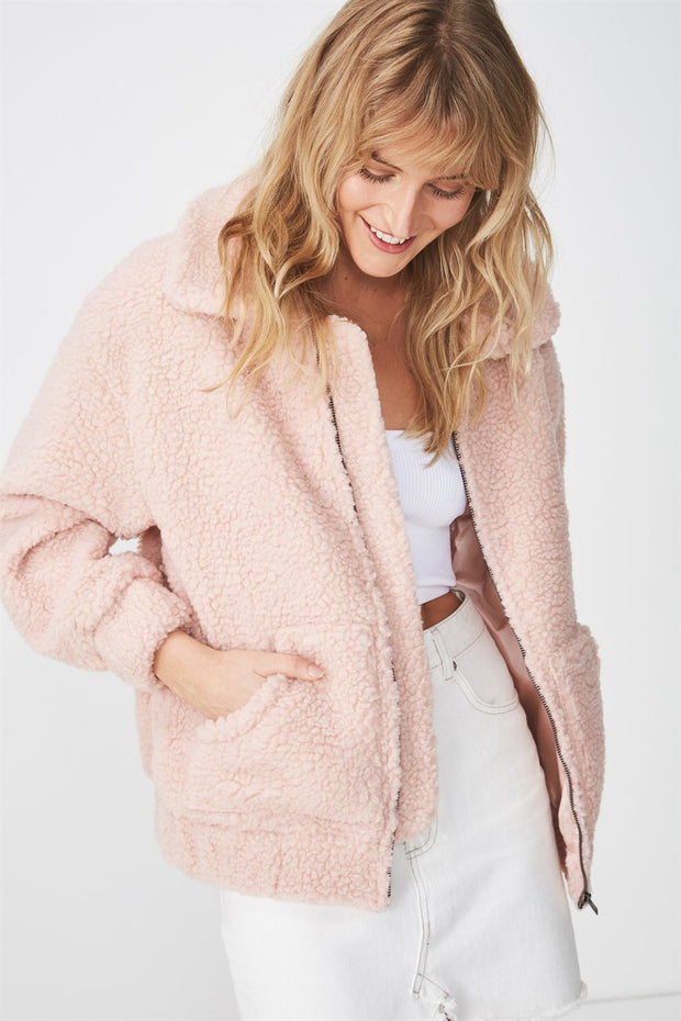 ROIII Winter fashion short Teddy velvet sweater padded warm cardigan coat pink color