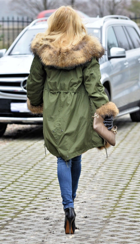 Roiii Thickened Warm Thicken AmryGreen Shade Faux Fur Casual Parka Luxury Women Hooded Long Winter Jacket Overcoat Size S-3XL
